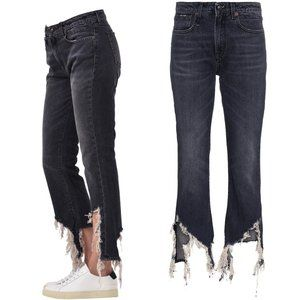 R13 Kick Fit Frayed Hem High Rise Flare Jeans